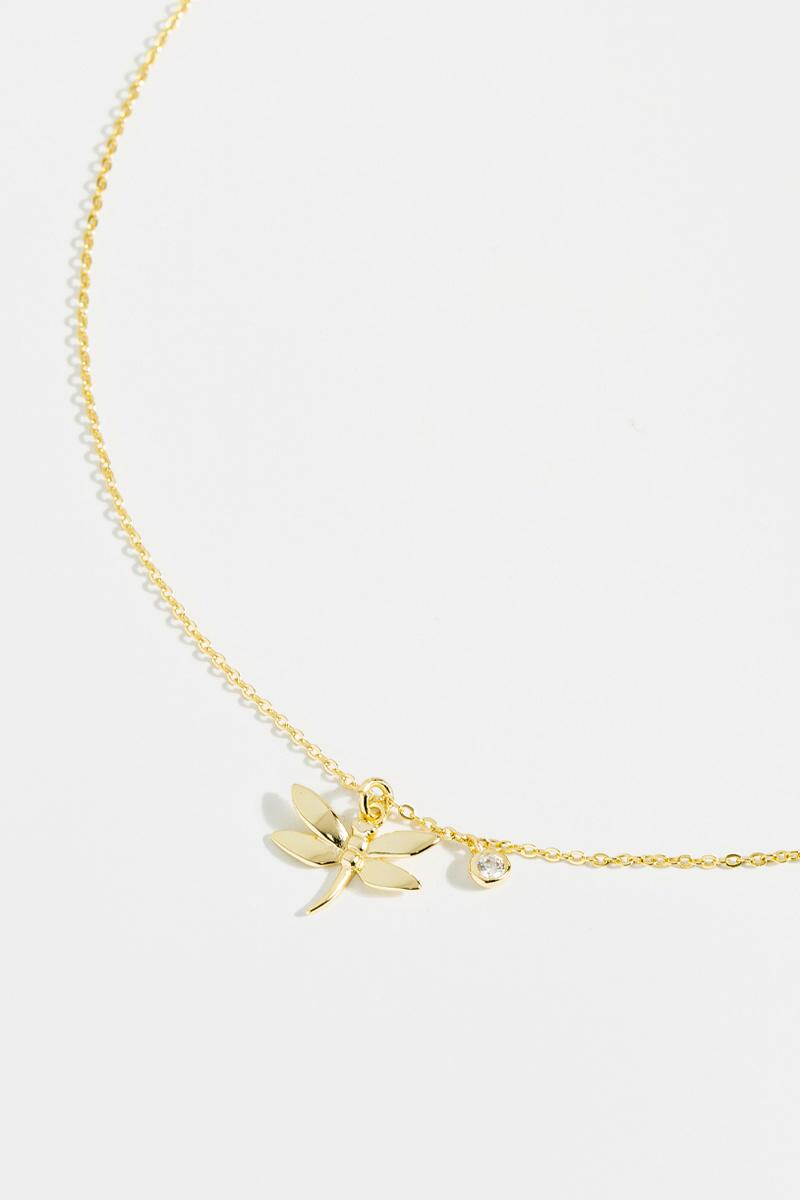 Belle Dragonfly Necklace- Gold