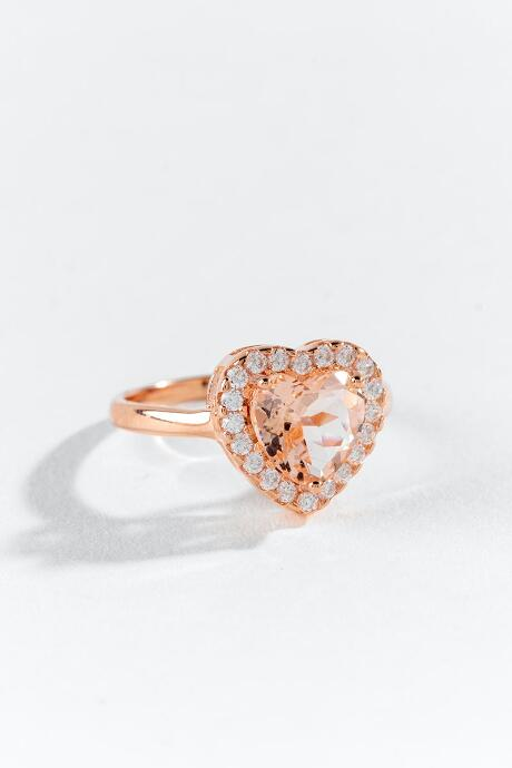 Adeline CZ Heart Ring - Rose/Gold