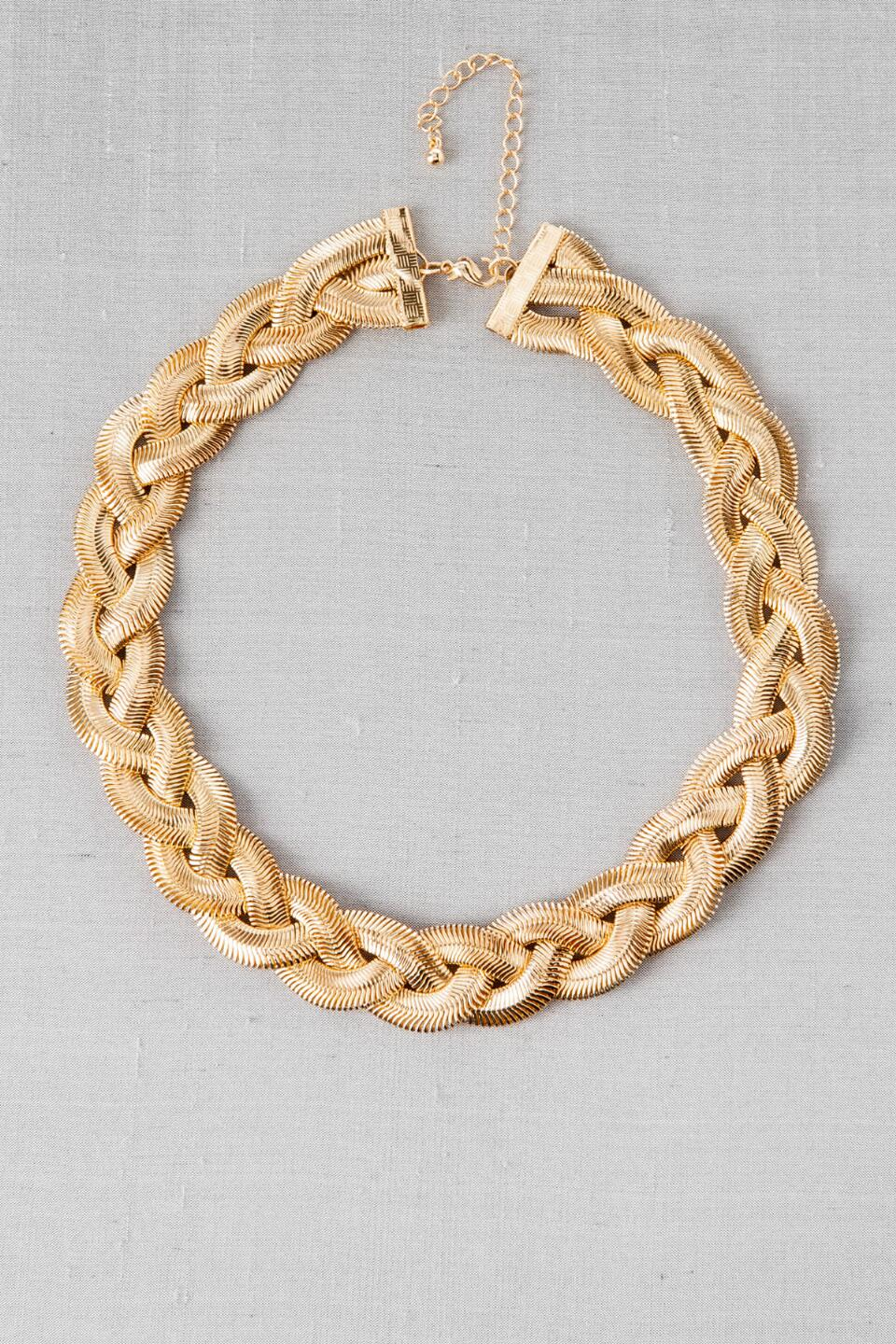 Topanga Braided Necklace-  gold-cl