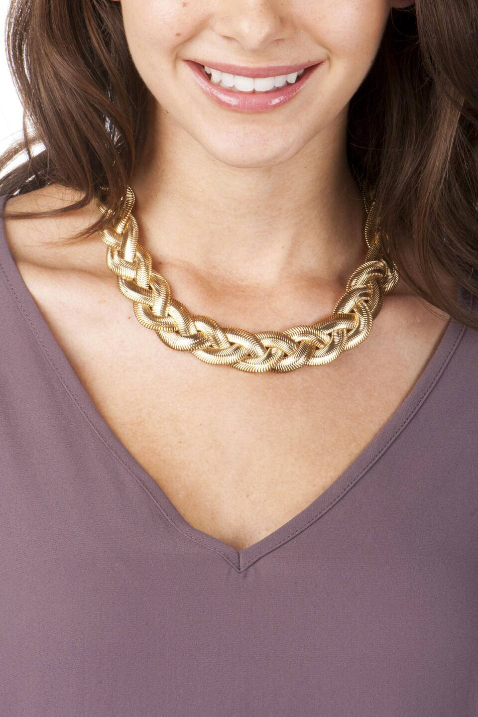 Topanga Braided Necklace-  gold-clmodel