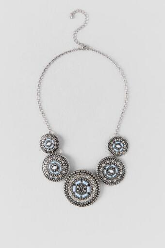 Reagan Metal Cast Statement Necklace in Silver