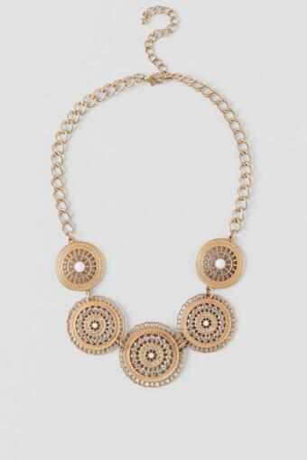 Acelynn Filigree Circle Statement Necklace in Gold