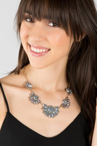 Reece Fanned Sunflower Statement Necklace in Gray