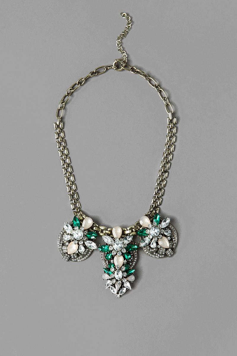 Montrouge Jeweled Statement Necklace in Green