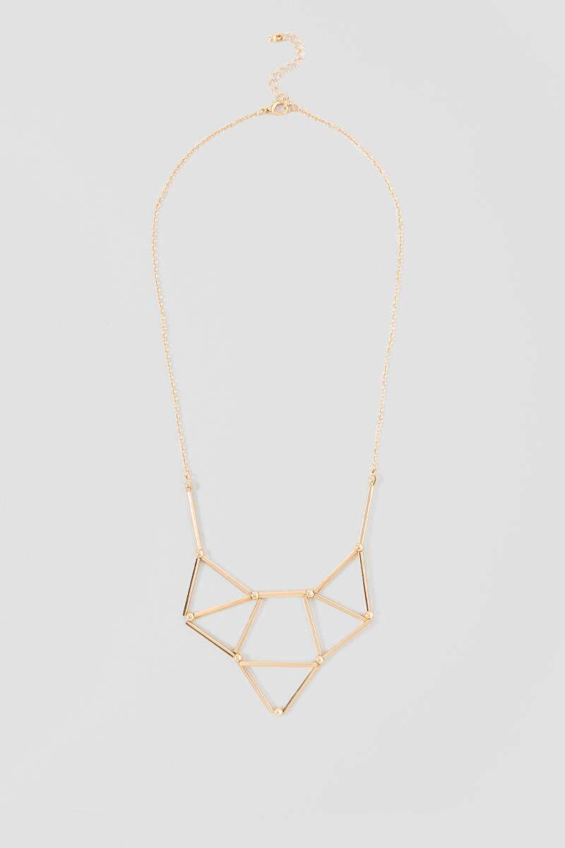 Tracy Geo Statement Necklace-  gold-cl