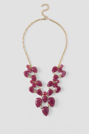 Adelina Statement Necklace in Berry