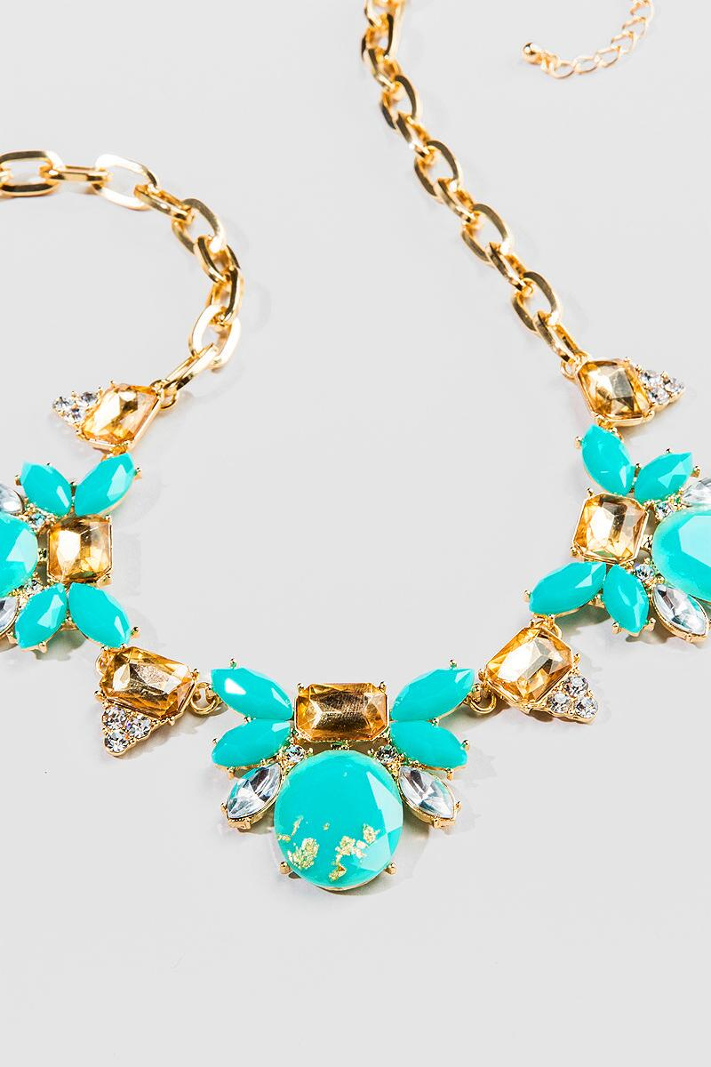 Washington Ave. Statement Necklace in Turquoise-  turq-cl