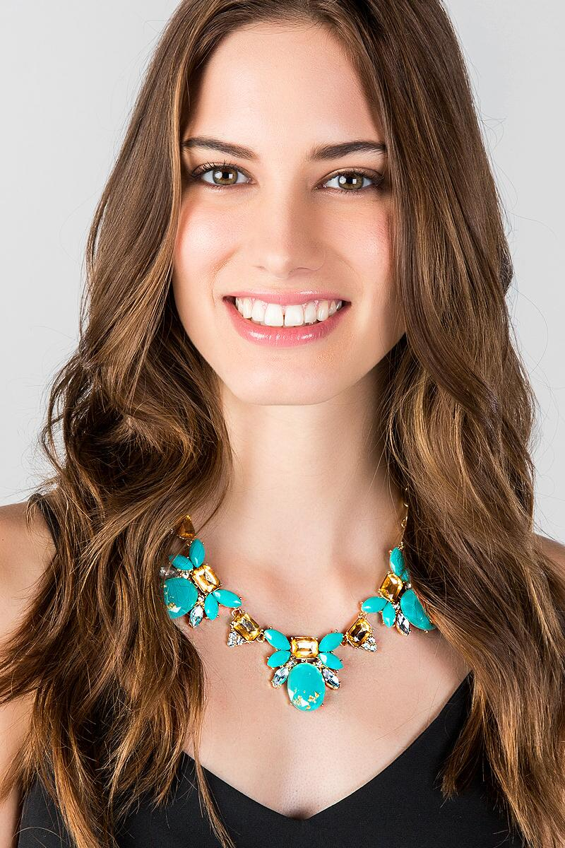 Washington Ave. Statement Necklace in Turquoise-  turq-clmodel