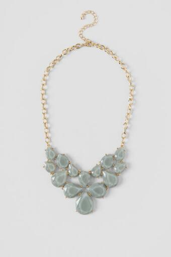 Barbara Linked Teardrop Statement Necklace in Gray