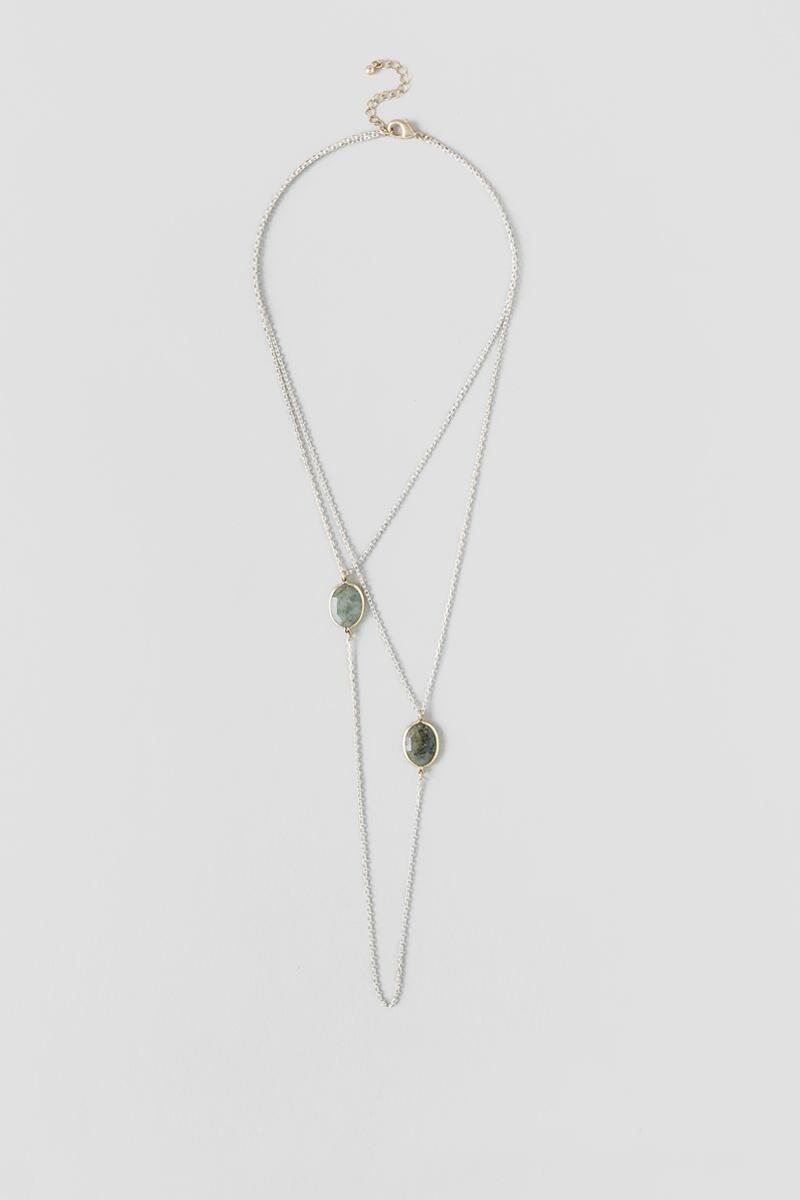 Levana Labrodite Layered Strand Necklace-  gray-cl