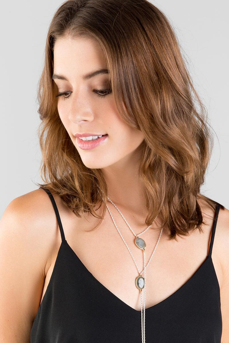 Levana Labrodite Layered Strand Necklace-  gray-clmodel