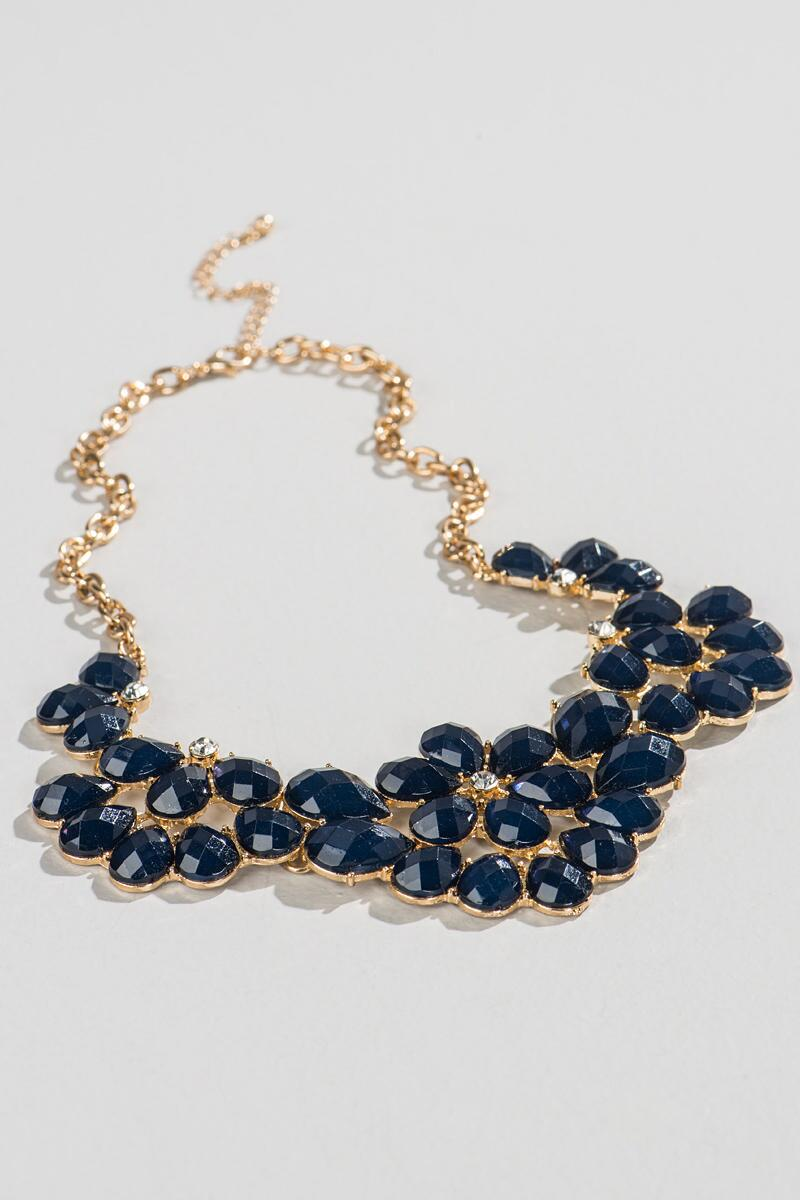Deerwood Statement Necklace in Navy