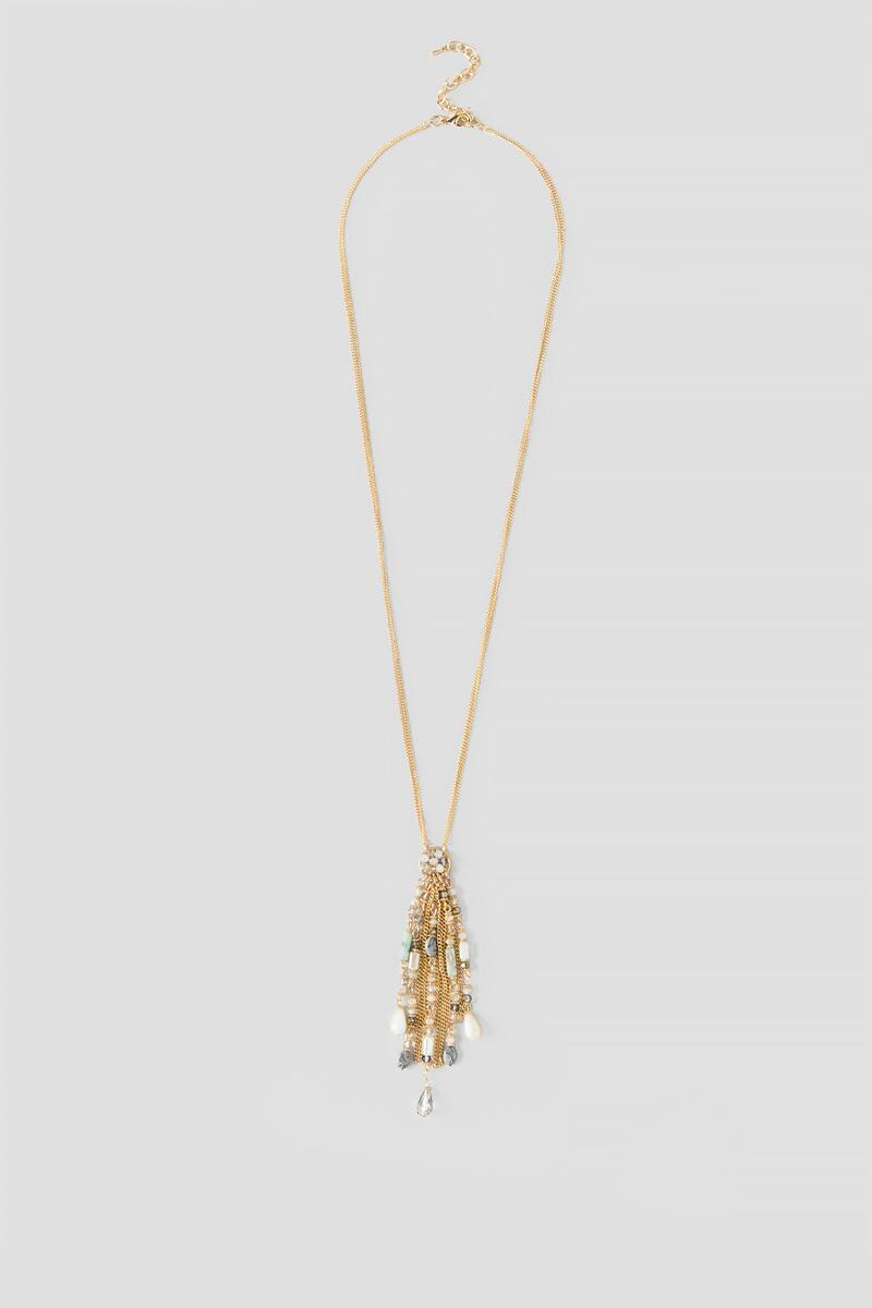 Amina Beaded Tassel Pendant Necklace-  multi-cl