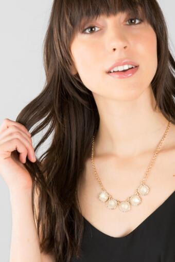Abby Moonstone Statement Necklace in Ivory
