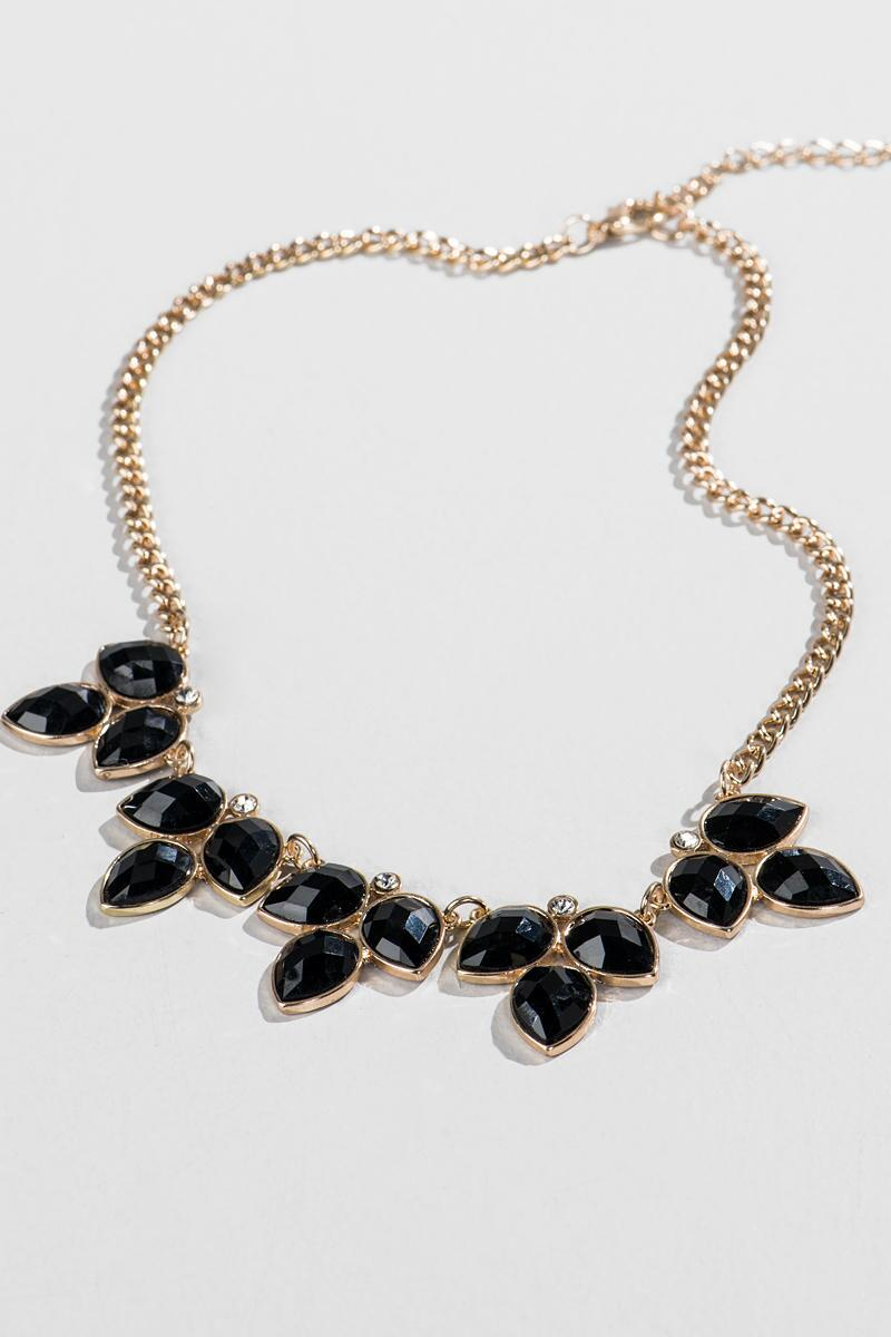 Pershing Statement Necklace in Black-  blk-cl