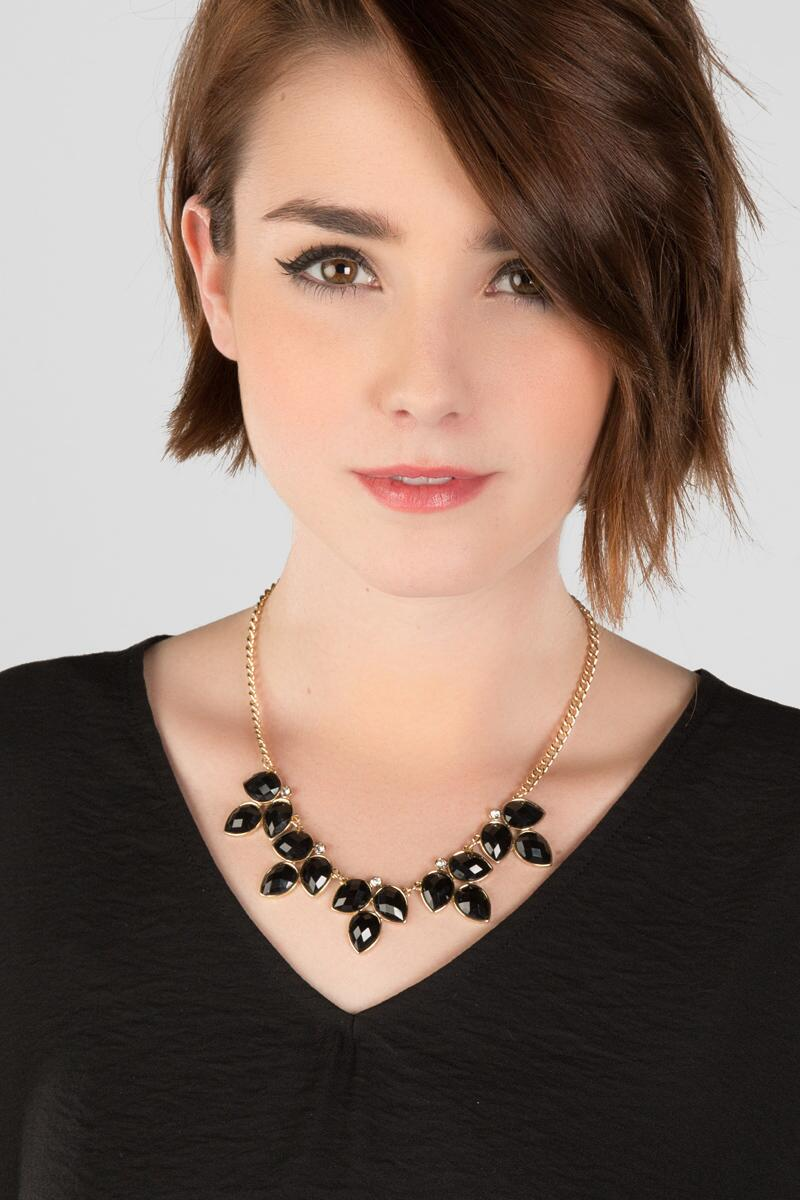 Pershing Statement Necklace in Black-  blk-clmodel