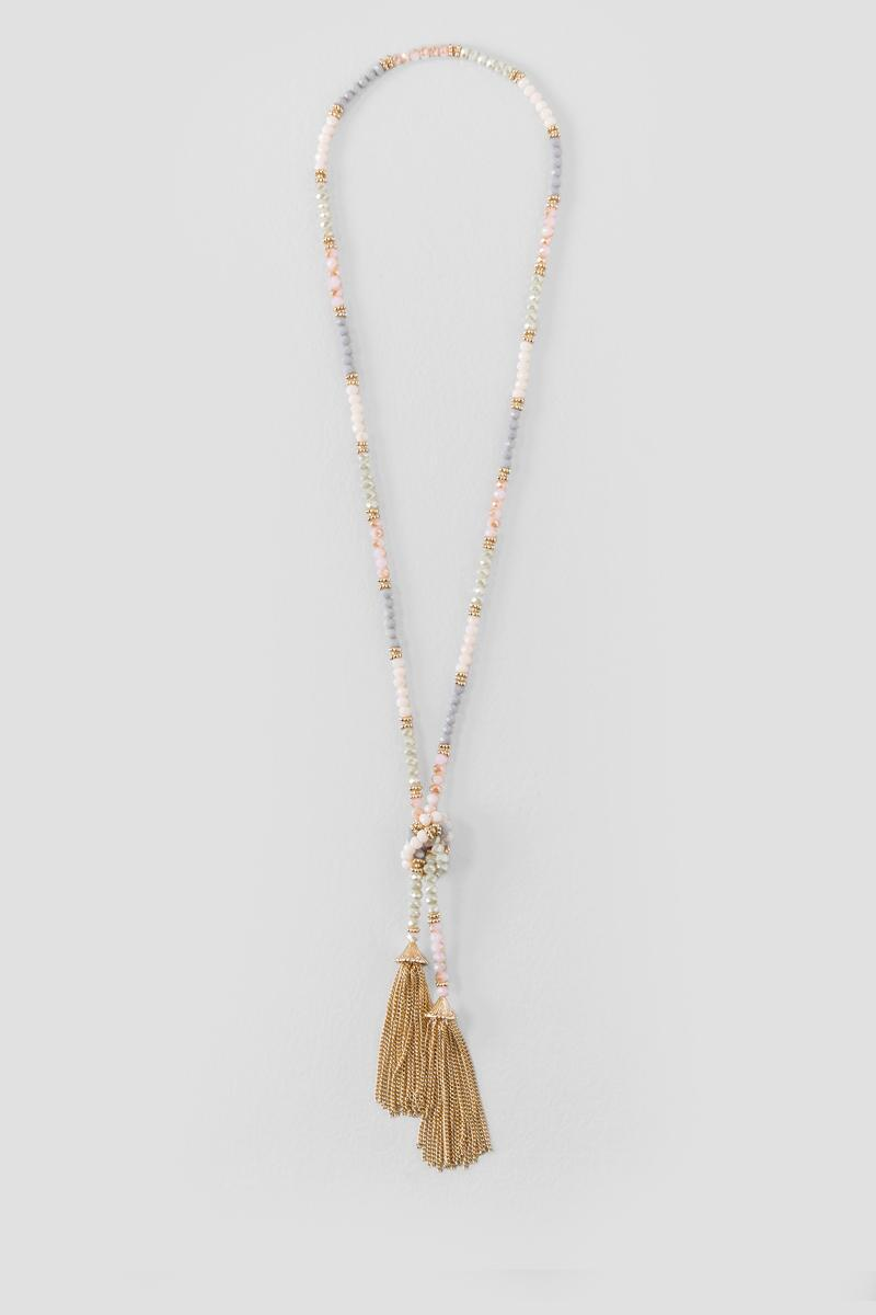 Abigail Beaded Tassel Necklace in Light-  multi-cl
