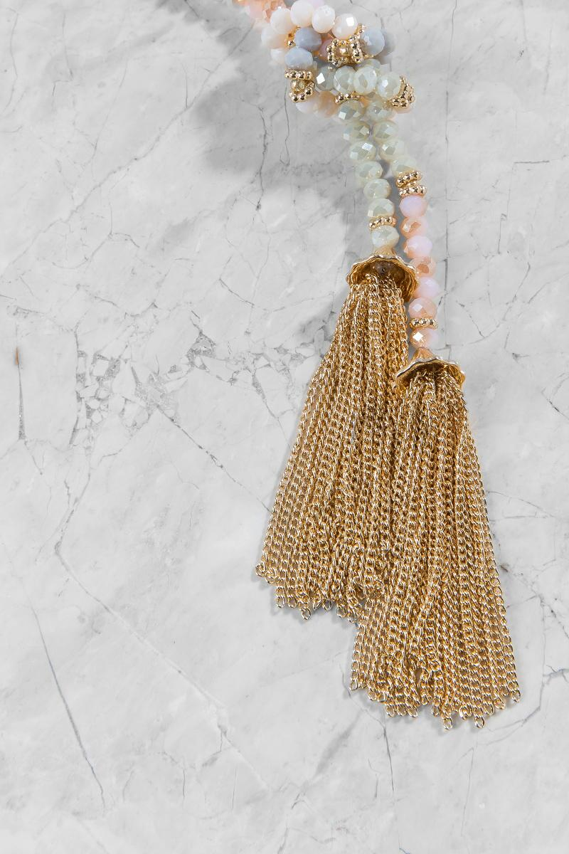 Abigail Beaded Tassel Necklace in Light-  multi-clalternate