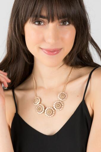 Aralyn Epoxy Flower Statement Necklace in Mauve