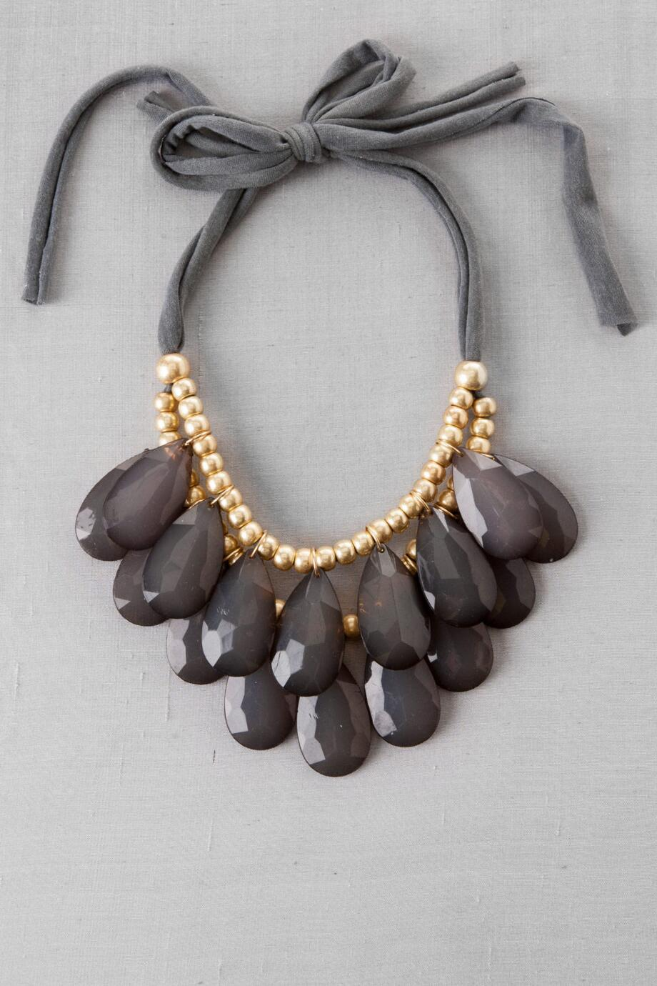 Katrina Beaded Teardrop Necklace in Grey