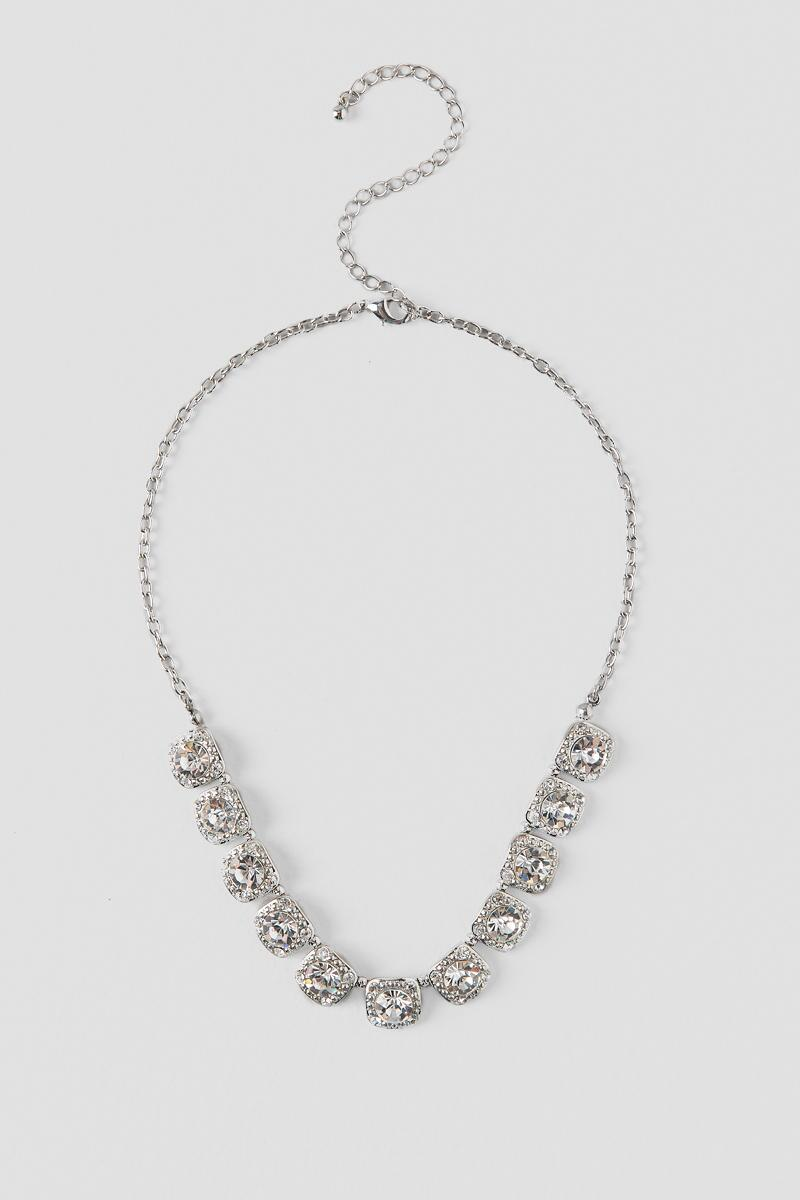 Chantelle Square Crystal Linked Statement Necklace-  silver-cl
