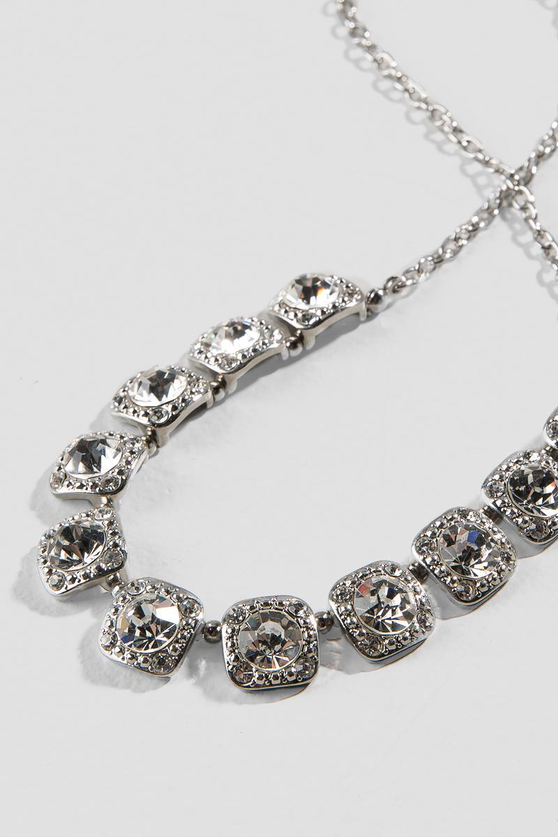 Chantelle Square Crystal Linked Statement Necklace-  silver-clalternate