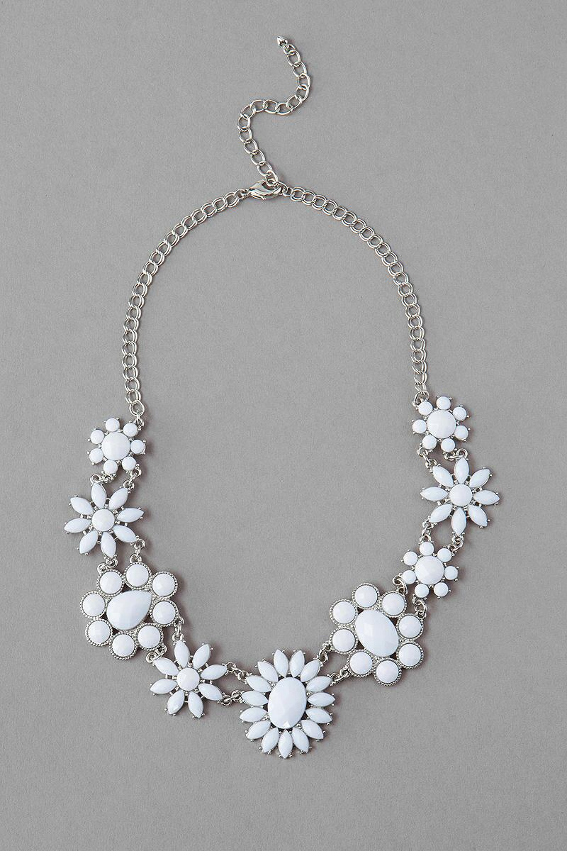 Roxboro Jeweled Necklace in White