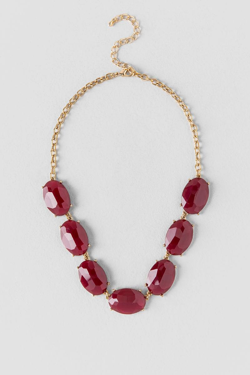 Mariana Facet Oval Statement Necklace in Burgundy-  burg-cl