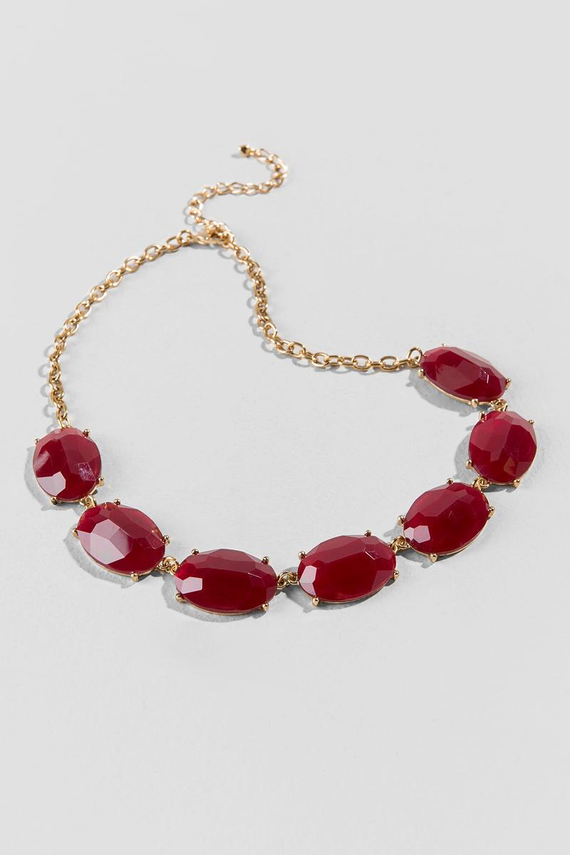 Mariana Facet Oval Statement Necklace in Burgundy-  burg-clalternate