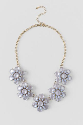 Springhill Floral Statement Necklace in Light Blue
