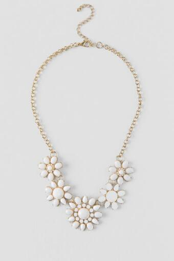 Jade Facet Floral Statement Necklace in Ivory