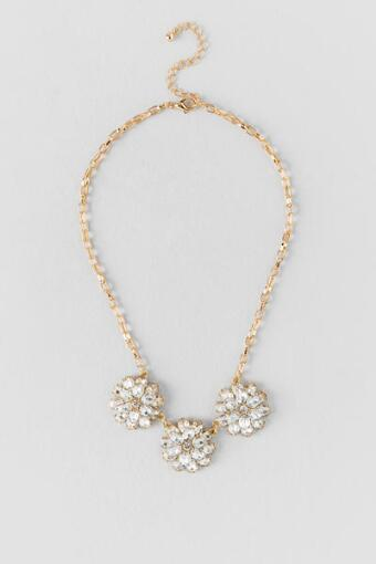 Aerona 3D Crystal Flowers Statement Necklace