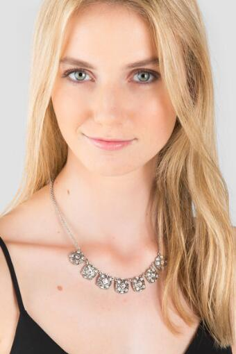 Zahara Pavé Squares Statement Necklace in Silver
