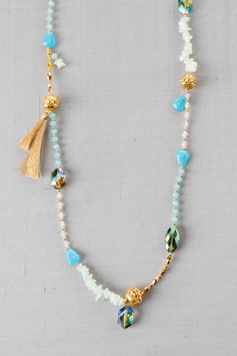 Palermo Beaded Strand Necklace-  ltblu-cl