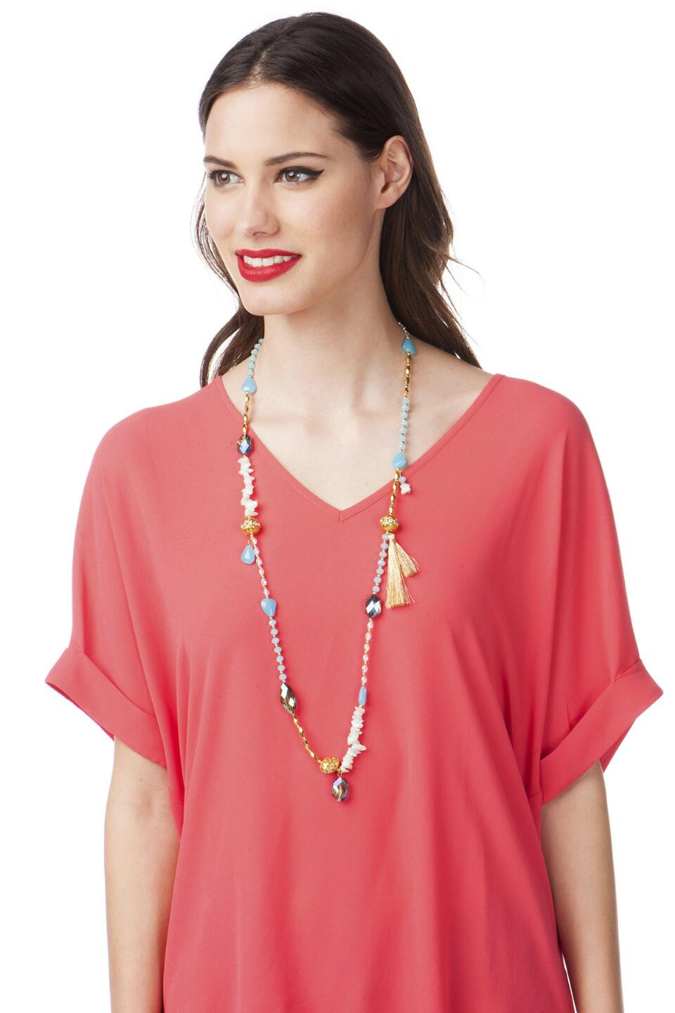 Palermo Beaded Strand Necklace-  ltblu-clmodel