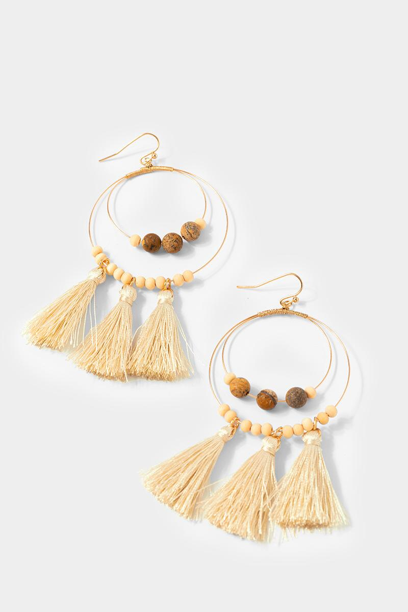Cailynn Wood Tassel Circle Drop Earrings- Natural