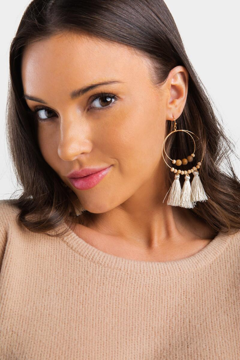 Cailynn Wood Tassel Circle Drop Earrings- Natural 2