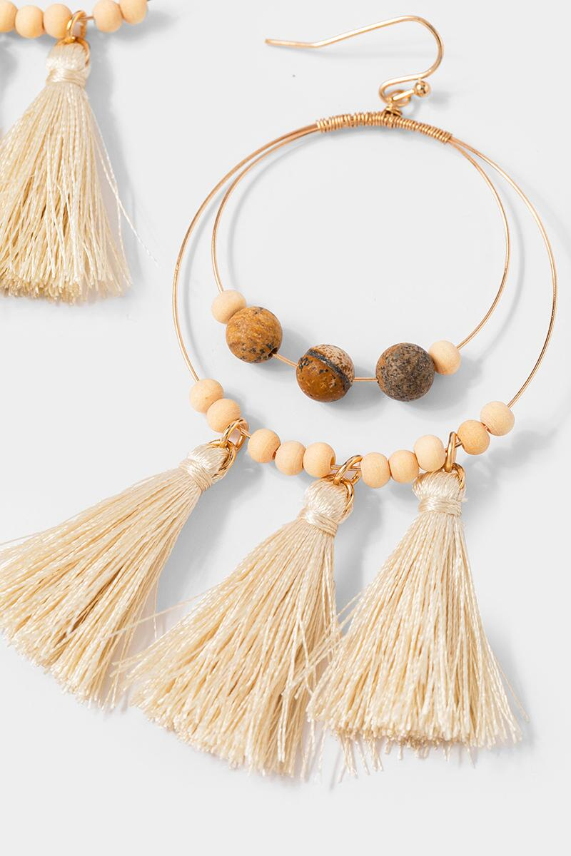 Cailynn Wood Tassel Circle Drop Earrings- Natural 3