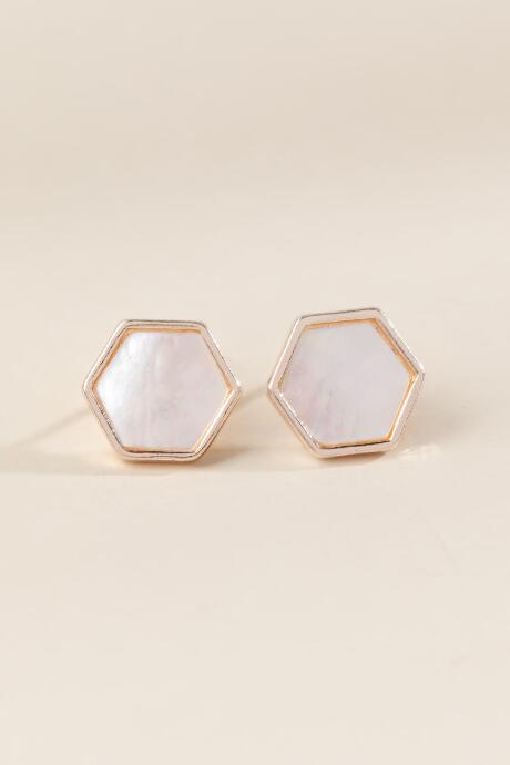 Marianne Hexagon Stud Earrings