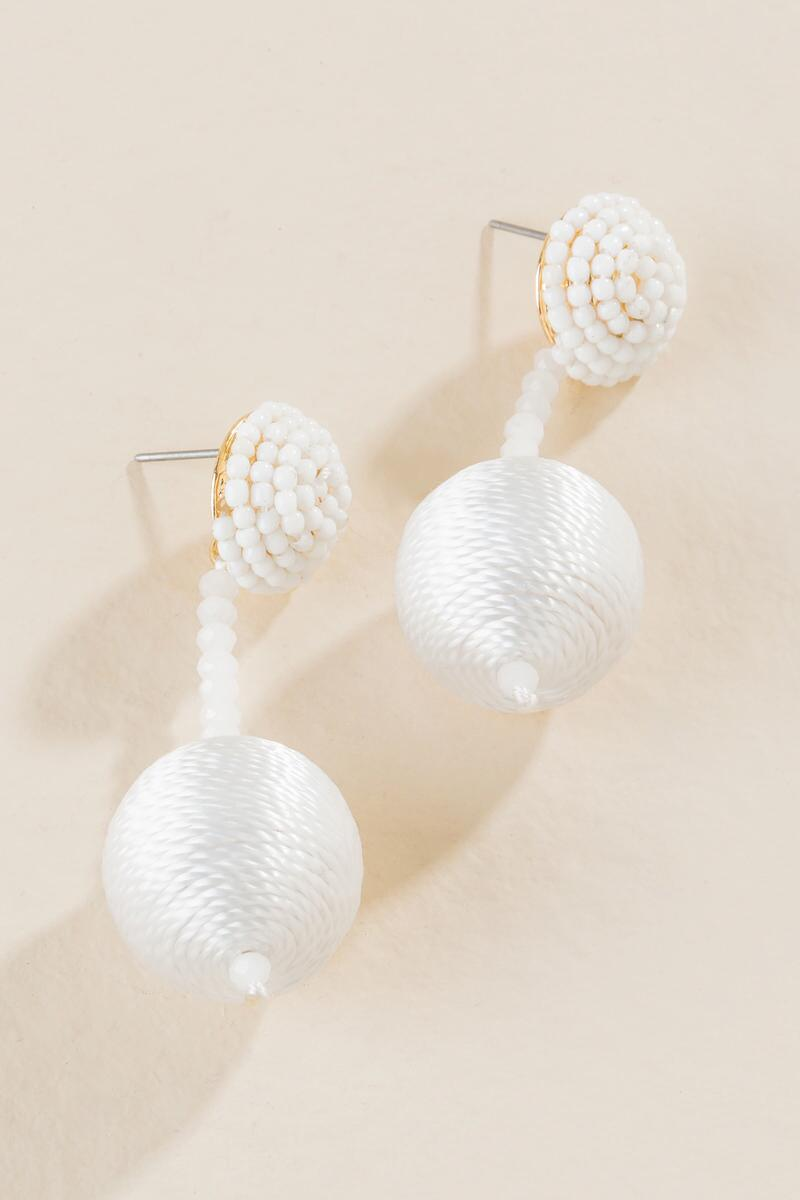 Renelle Thread Ball Drop Earrings In White-  white-clalternate