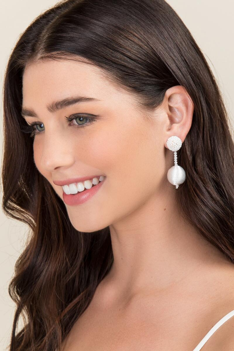 Renelle Thread Ball Drop Earrings In White-  white-clmodel