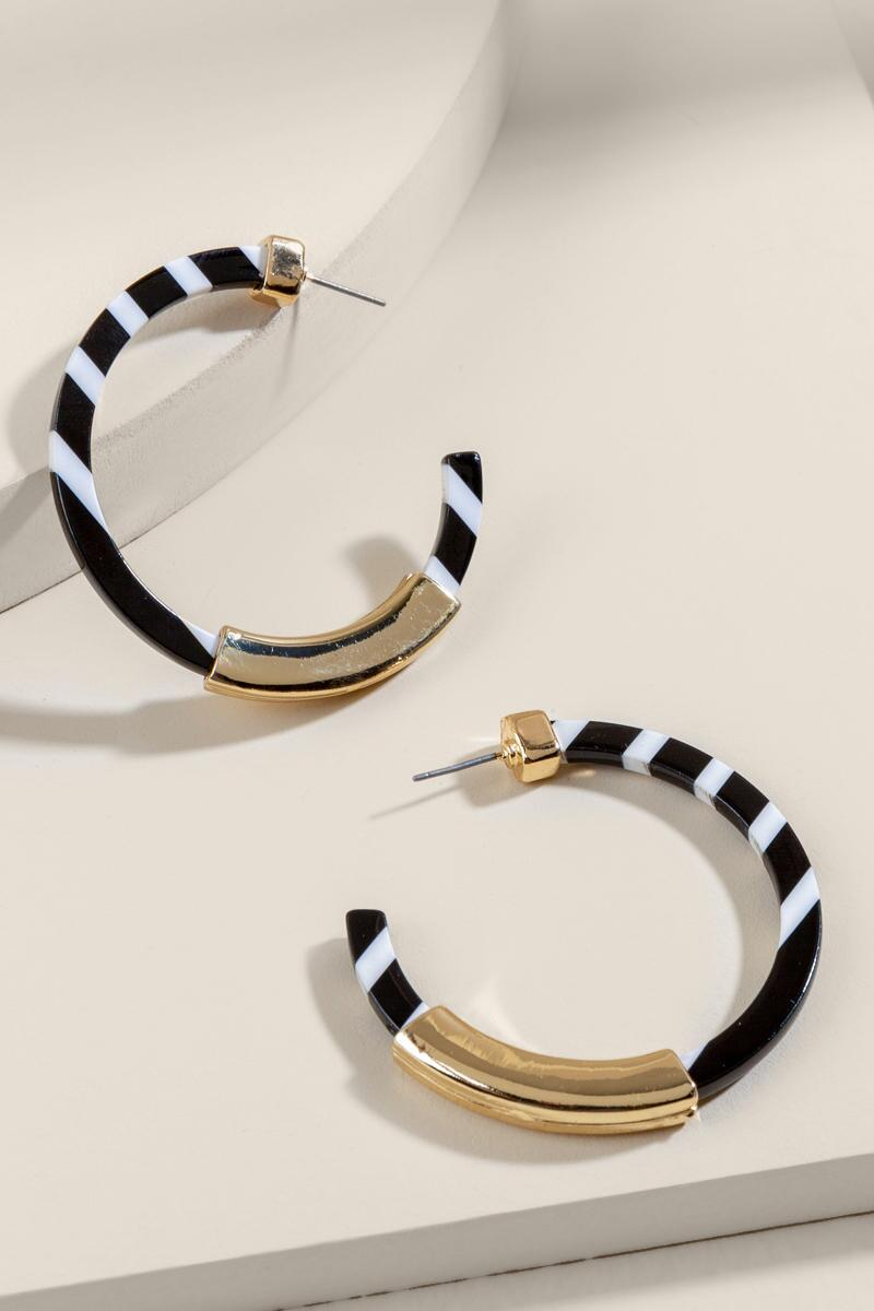 Brit Striped Resin Hoops- Black