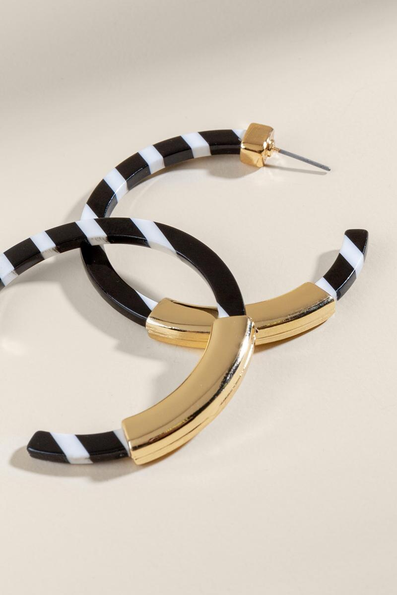 Brit Striped Resin Hoops- Black alternate
