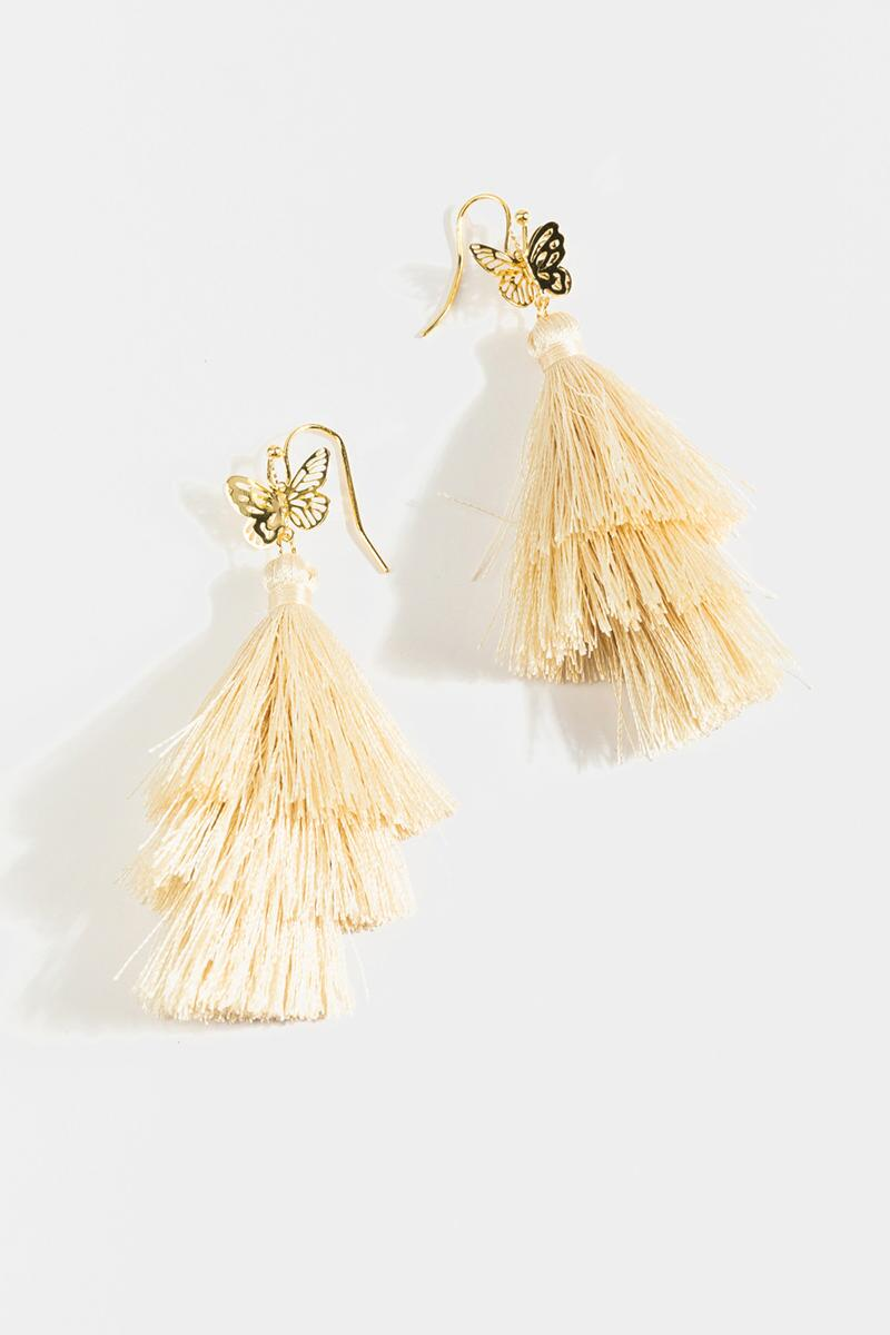 Marley Butterfly Tiered Tassel Earrings- Ivory