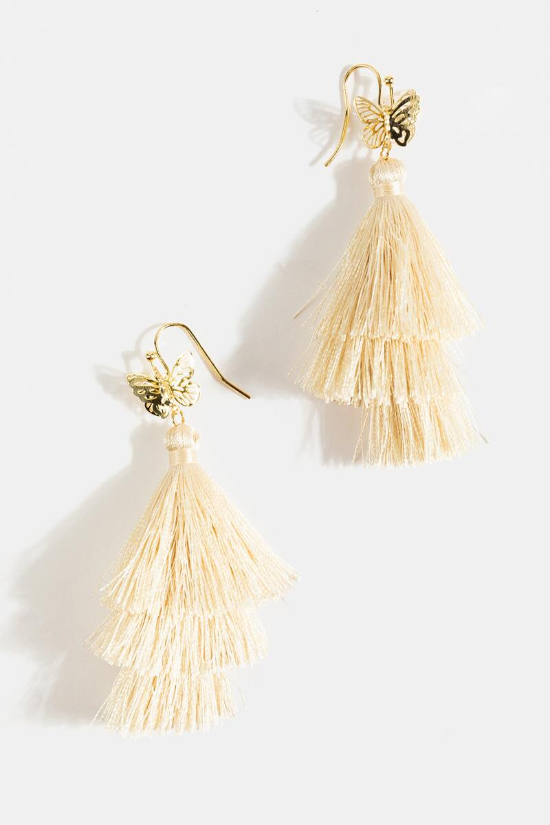 Marley Butterfly Tiered Tassel Earrings- Ivory 3