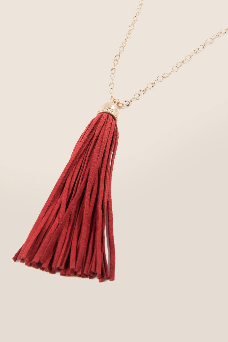 Game Day Tassel Necklace in Red-  red-clalternate
