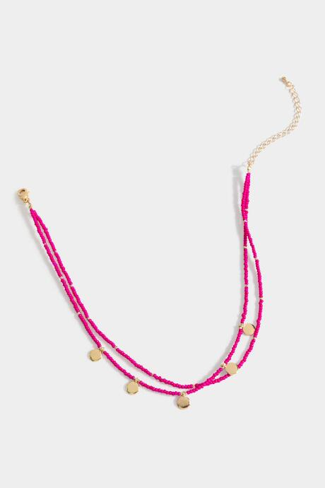 Abigail Coin Station Beaded Choker - Fuchsia