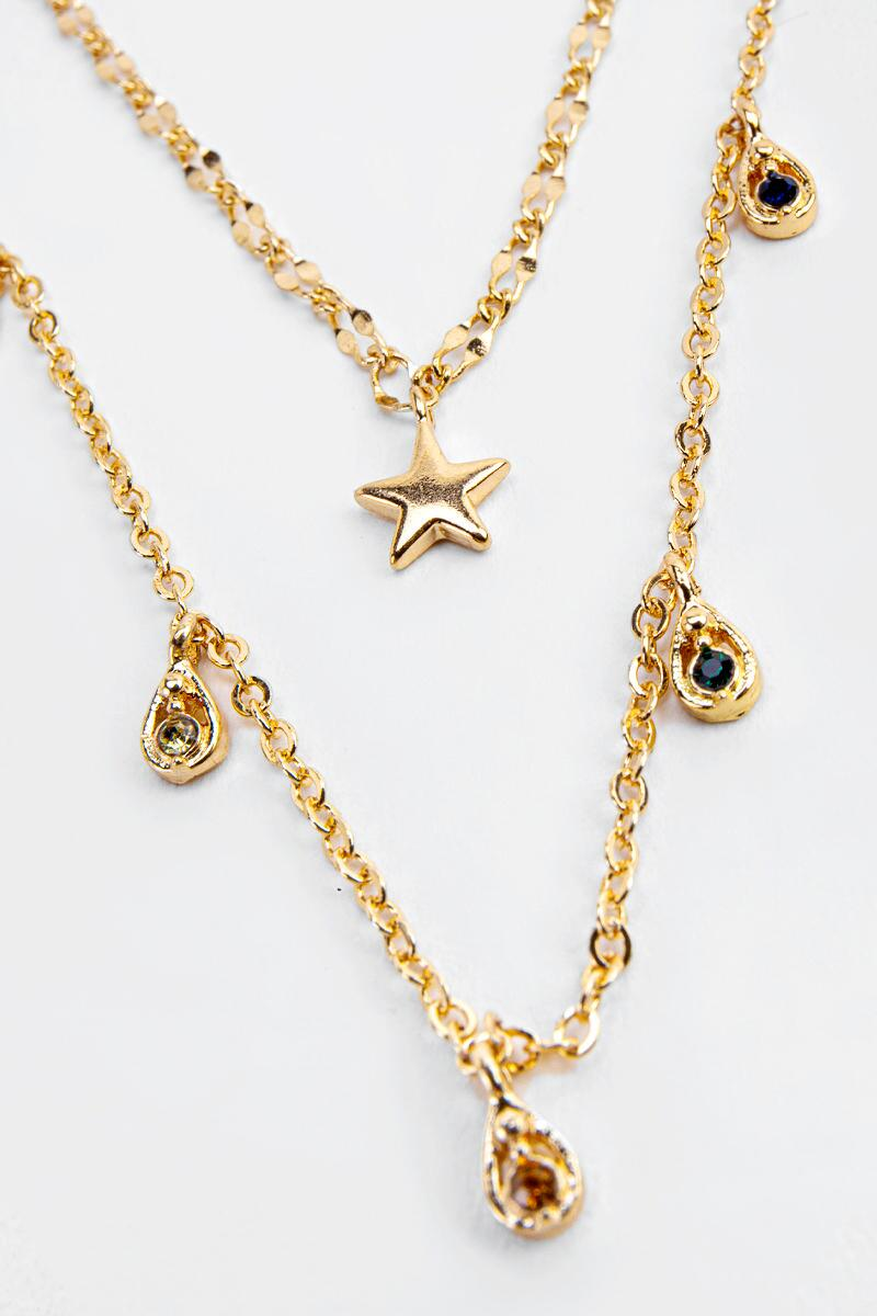 Annika Star Focal Layered Necklace- Gold