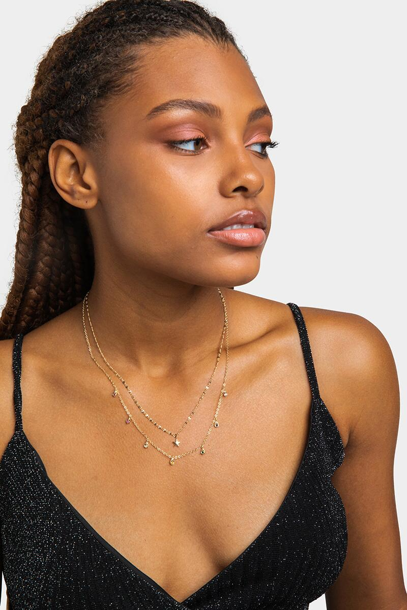 Annika Star Focal Layered Necklace- Gold 2