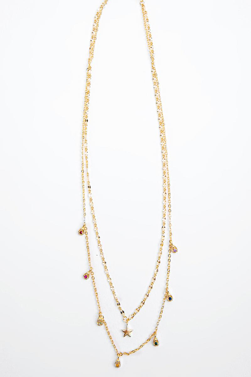 Annika Star Focal Layered Necklace- Gold 3
